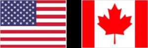 Amerikanische und Kanadische Flaggen